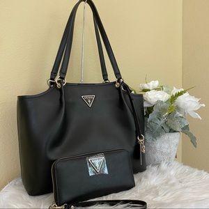 New guess shoulder tote black bag & wallet set
